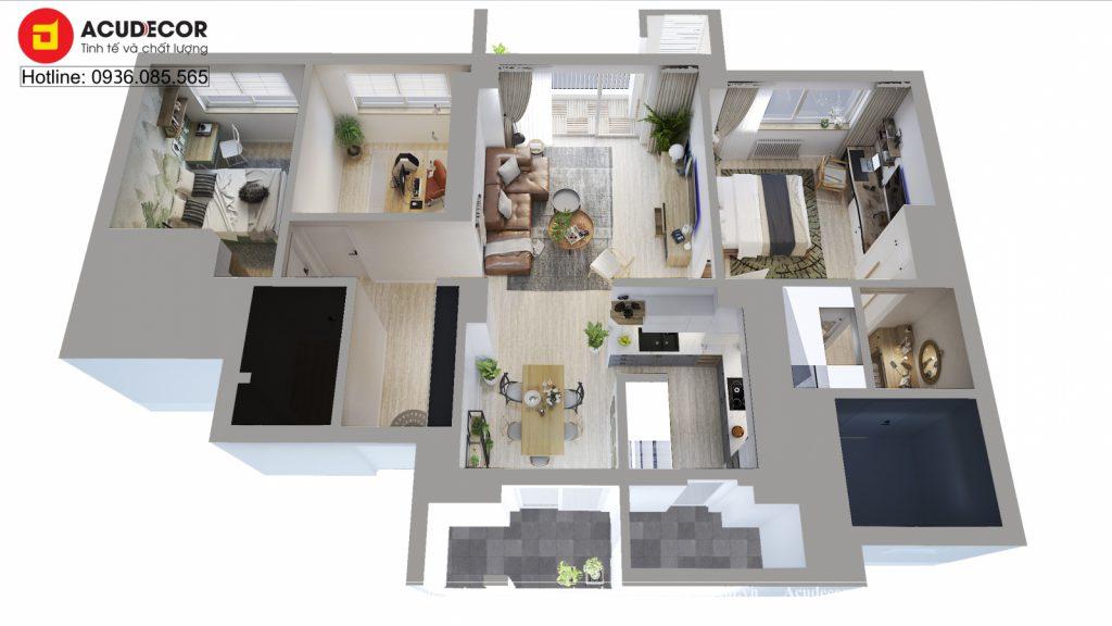 mặt bằng tổng thể căn hộ 125m2 phong cách Scandinavia